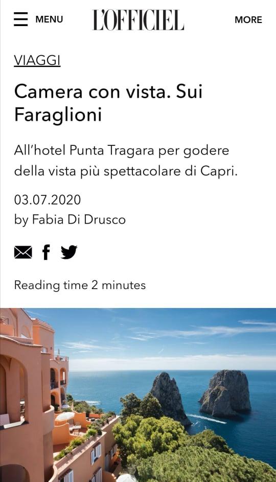 PUNTA TRAGARA – L'OFFICIEL ITALIA – LUGLIO 2020