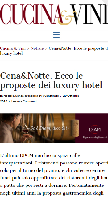MANFREDI FINE HOTEL COLLECTION – CUCINA E VINI – NOVEMBRE 2020