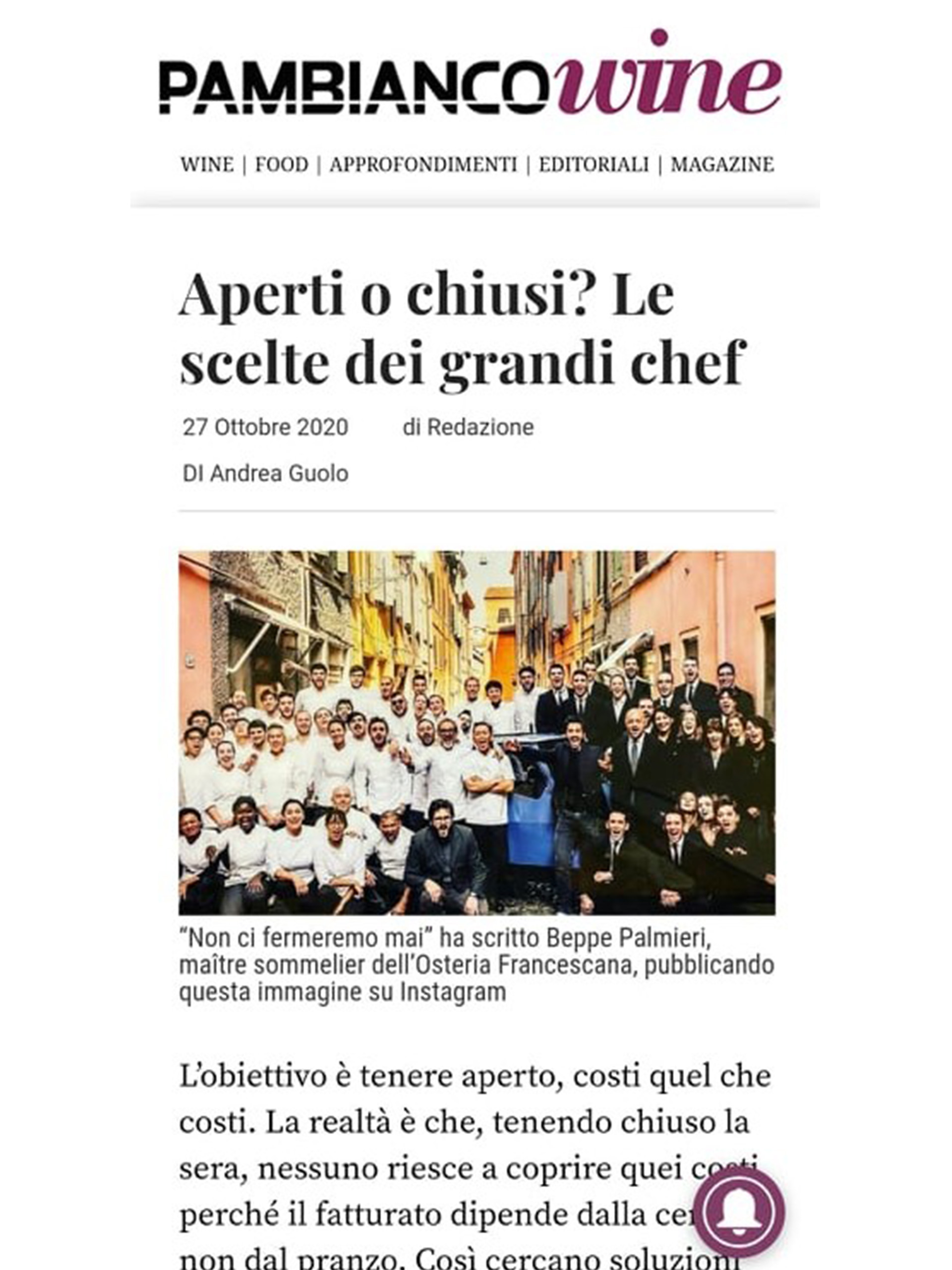 Arnolfo – Pambianco – Ottobre 2020
