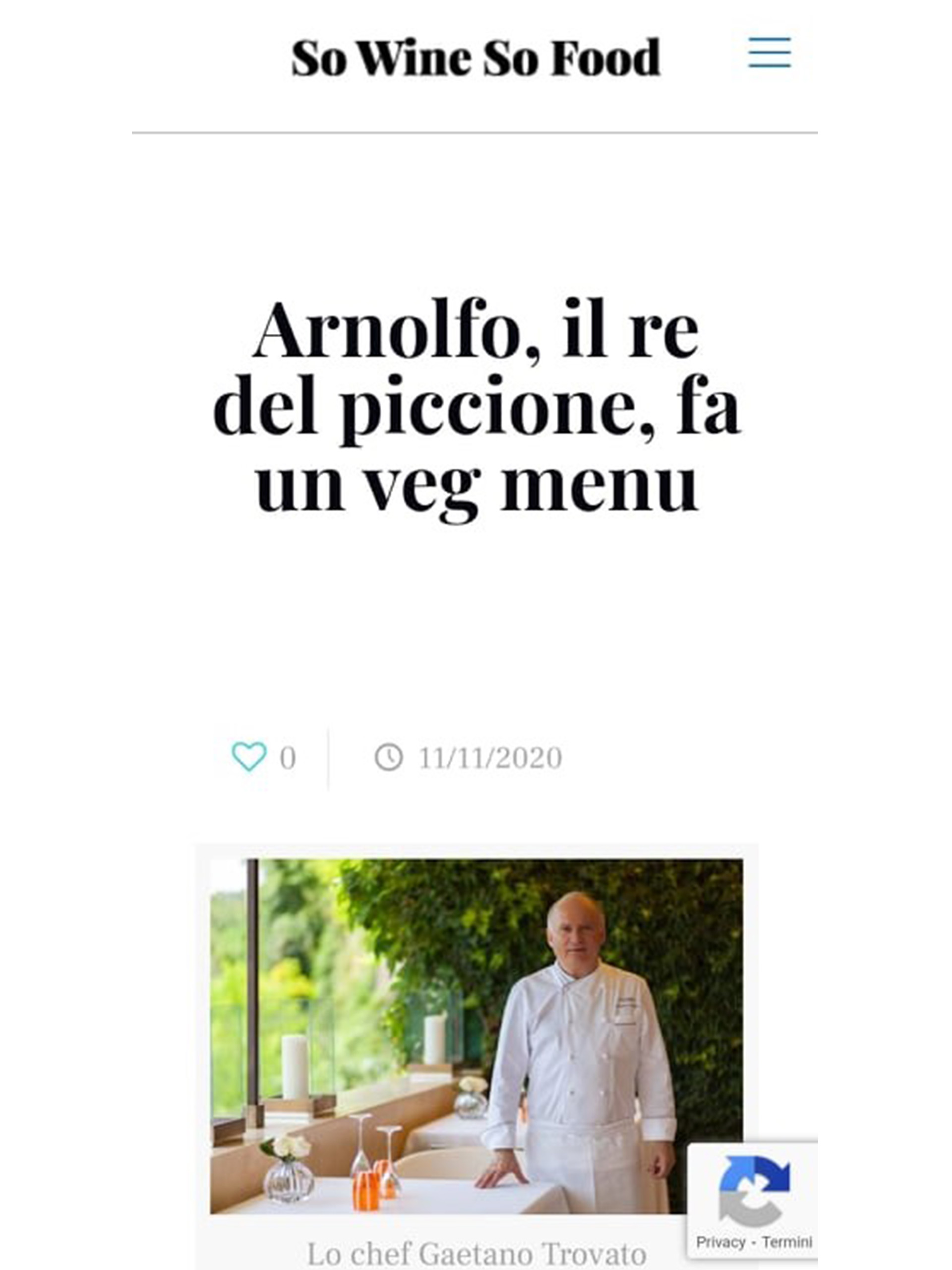 Arnolfo – So Wine So Food – Novembre 2020