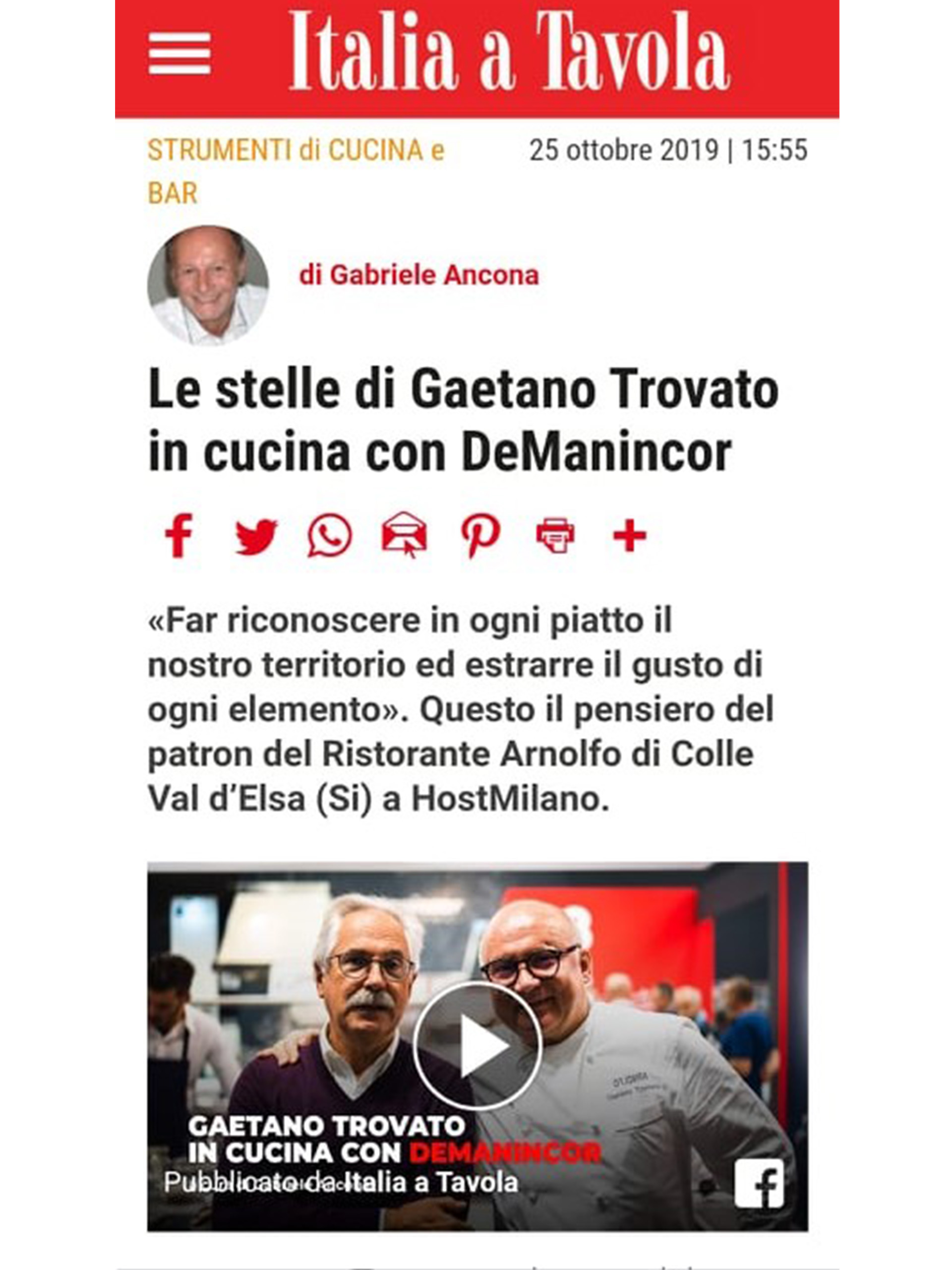 Arnolfo – Italia a Tavola – Ottobre 2019