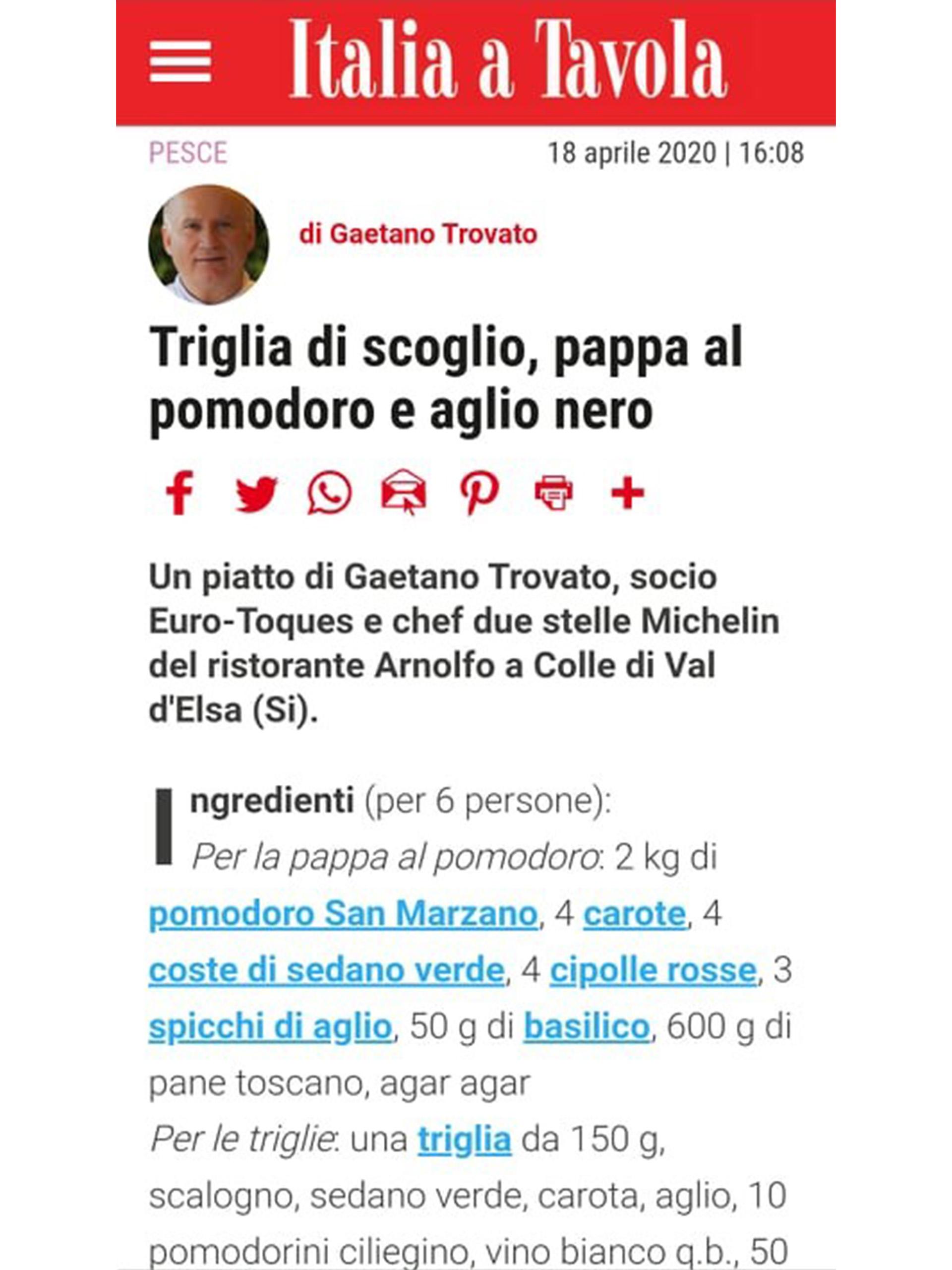 Arnolfo – Italia a tavola – Aprile 2020