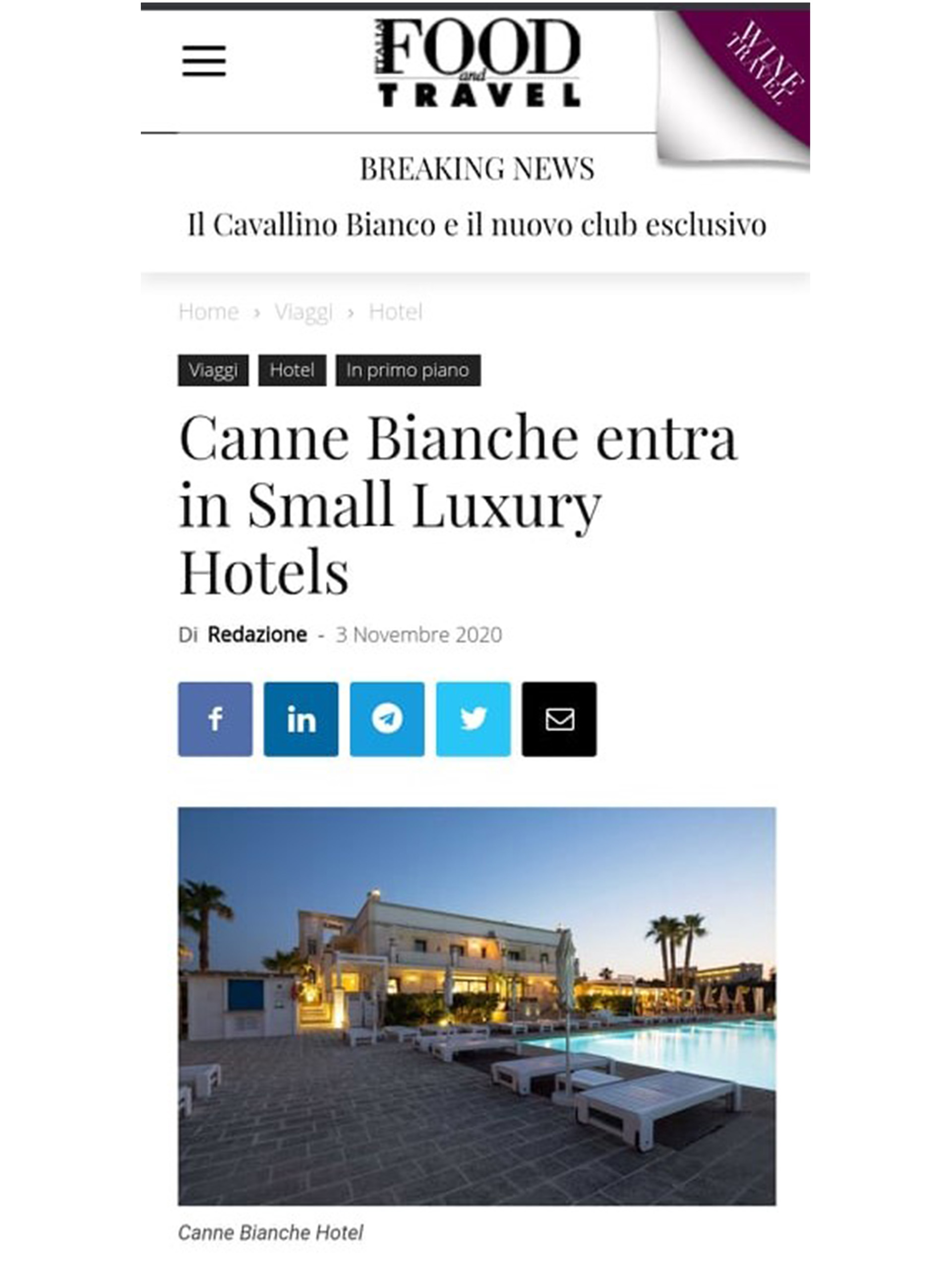 Canne Bianche – Food and Travel – Novembre 2020
