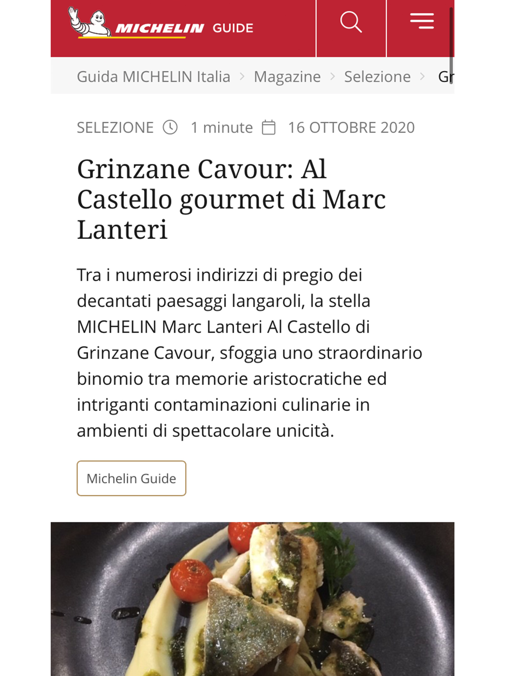 Marc Lanteri – Guida Michelin – Ottobre 2020
