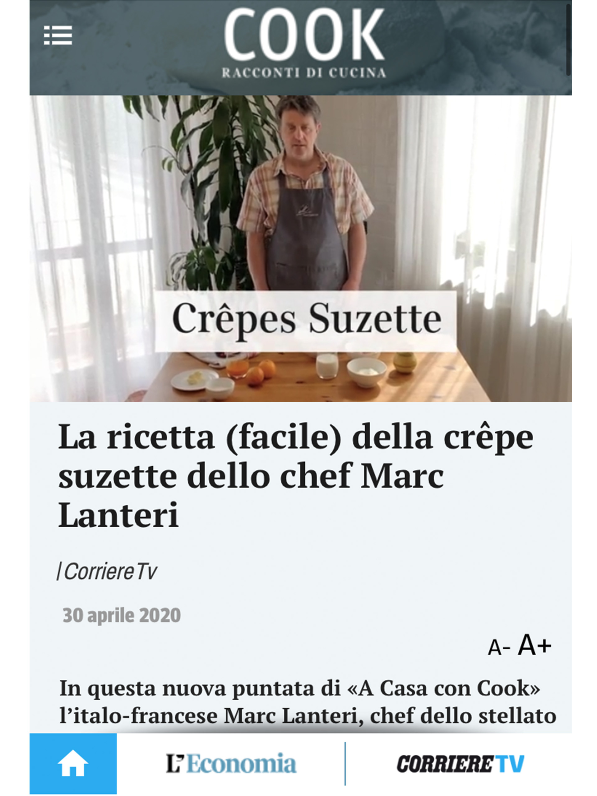 Marc Lanteri – Cucina Corriere – Aprile 2020