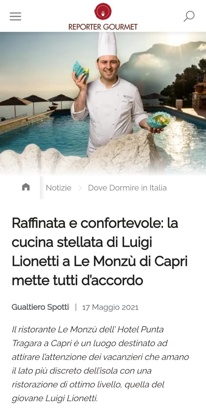 MANFREDI FINE HOTELS COLLECTION – REPORTER GOURMET – MAGGIO 2021