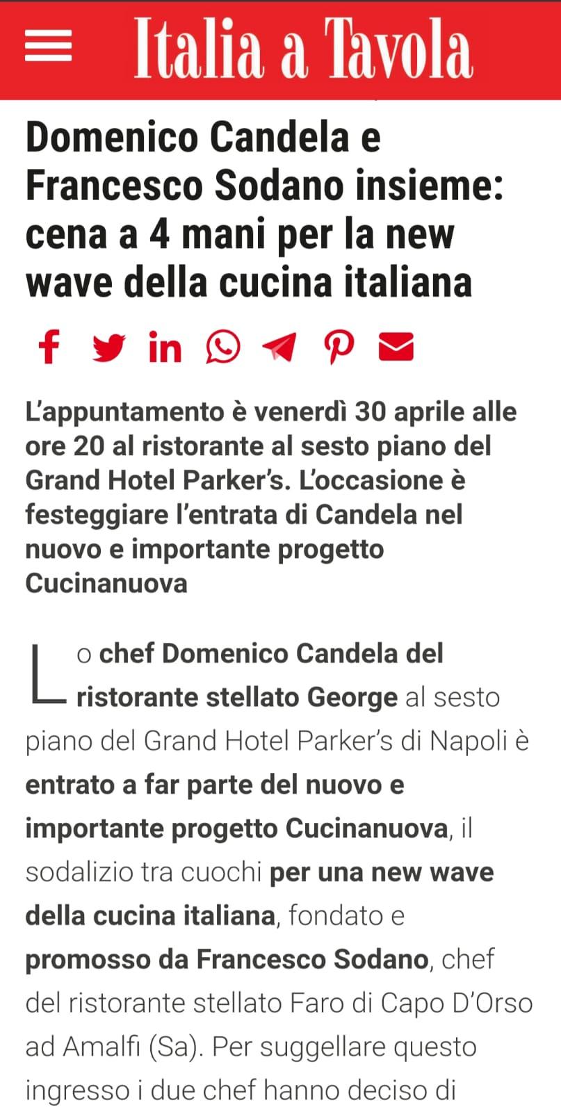 GRAND HOTEL PARKER'S – ITALIA A TAVOLA – APRILE 2021