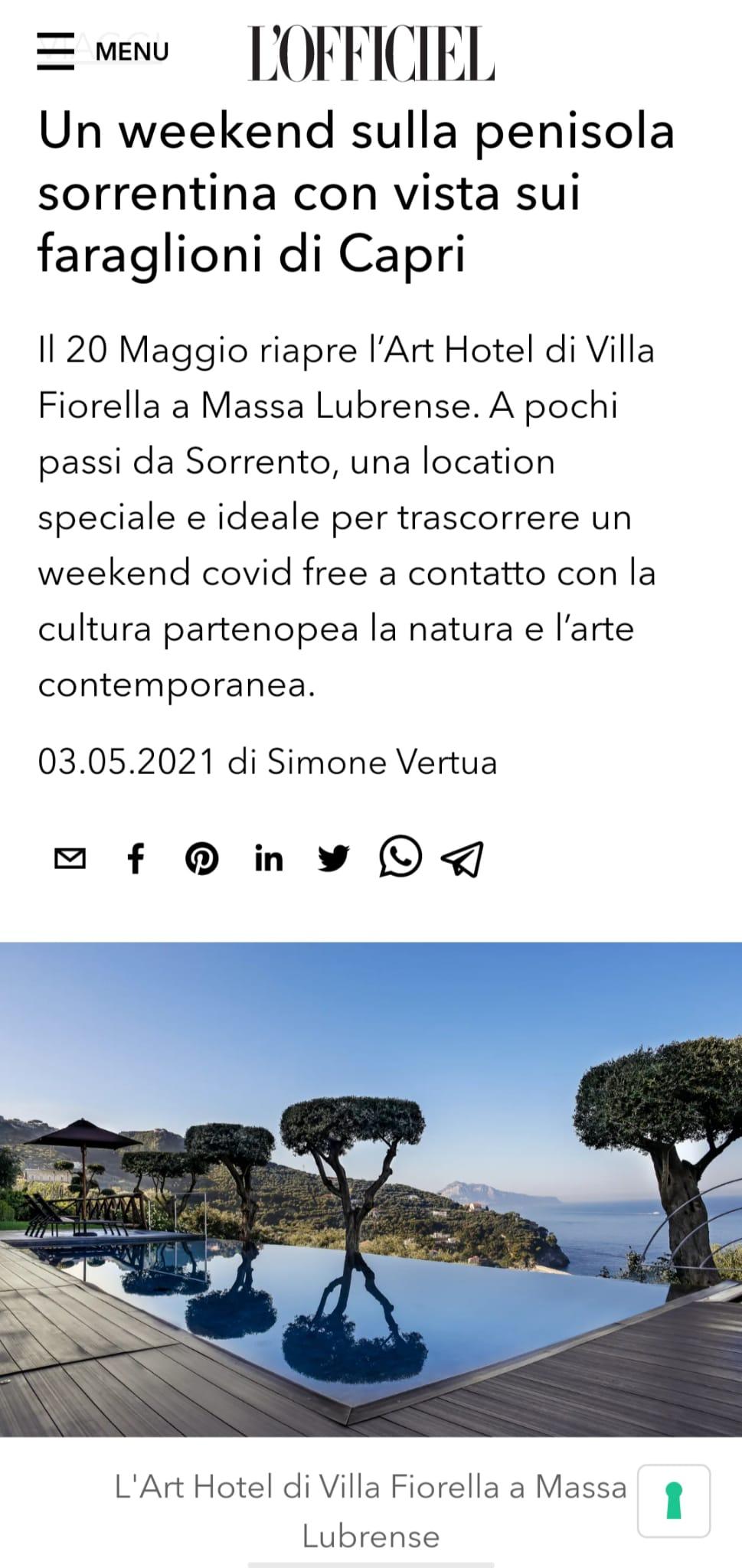 ART HOTEL VILLA FIORELLA – L'OFFICIEL – MAGGIO 2021