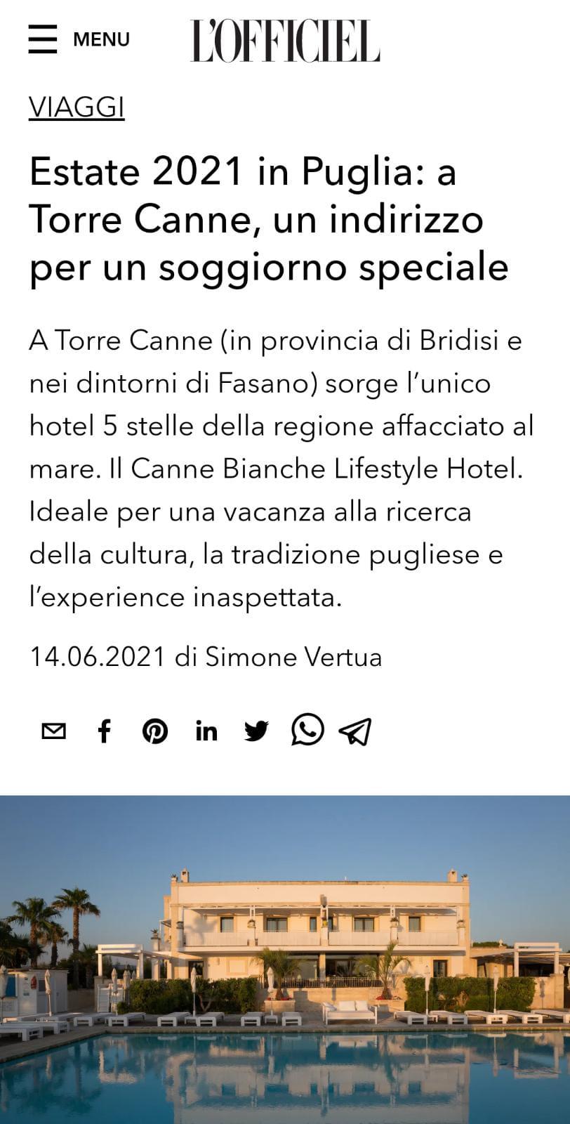 CANNE BIANCHE LIFESTYLE HOTEL – L'OFFICIEL – GIUGNO 2021
